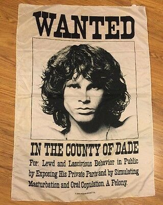 """The Doors JIM MORRISON Wanted Poster 29""""x41"""" Fabric Wall Art Rock Music W/flaws"""