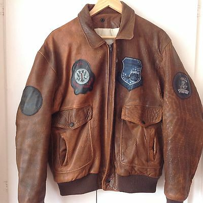 VINTAGE So Cool DISTRESSED LEATHER Army Pilot BOMBER JACKET XL TOP GUN