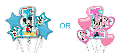 Mickey 1st OR Minnie 1st Birthday Party Supplies BALLOON BOUQUET FOIL New Design