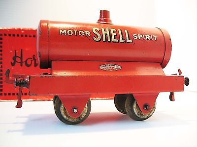 """Vintage 1921 Hornby (Meccano Ltd.) """"Shell"""" Tank Wagon in box. Great condition."""