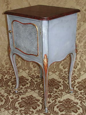 Antique Shabby Faux Painted Cottage Caned Nightstand Side Table