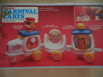 Child's Toy Pull Train Shelcore Carnival Carts 3 Different Carts Boxed 1985