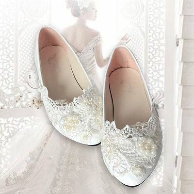 Women Wedding Pearl Lace Flower Prom Party Bridal Bridesmaid Flat Low Heel Shoes