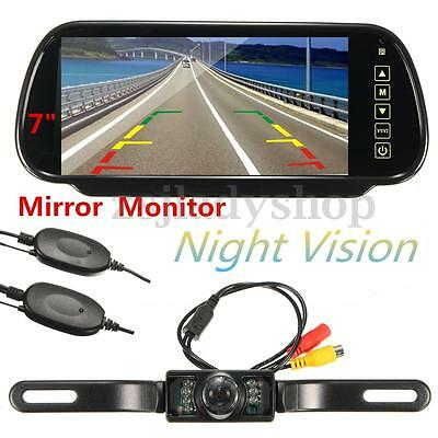 "7"" LCD Mirror Monitor & Night Vision Reversing Camera Wireless Car Rear View Kit"