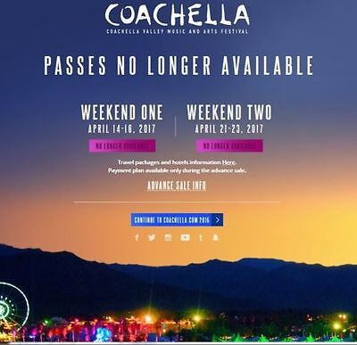 Coachella Music Festival Tickets 04/14/17 (Indio) Weekend-ONE(1) - GA Pass
