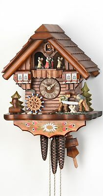 Cuckoo Clock Black Forest house with moving wood sawers and mil.. KA 3619 EX NEW