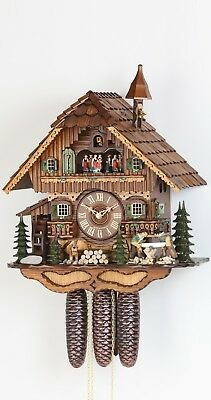 Cuckoo Clock Black Forest house with moving wood chopper and mil.. KA 3728/8 NEW