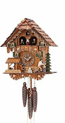 Cuckoo Clock Black Forest house with moving wood chopper and mill .. KA 3630 NEW