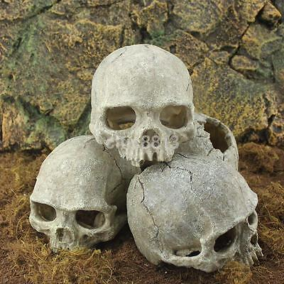 Aquarium Resin Skull Head Cave Ornament Fish Tank Underwater Decoration Decor AU