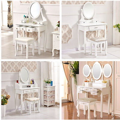 White Shabby Chic Vanity Makeup Dressing Table w/ Drawers, Mirror, Stool Bedroom