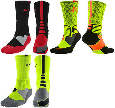 New Nike Kevin Durant Hyper Elite Cushioned Basketball Crew Socks S Women Youth