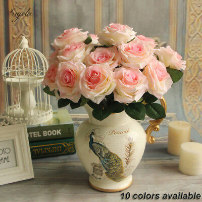 20Head Real Latex Touch Rose Flowers For wedding Party Home Design Bouquet Decor