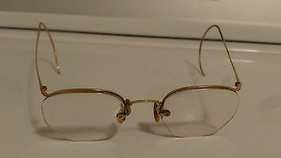 Vintage Antique P12K Gold Plated Round Eye Wire Etched Glasses/ Specatcles *Old*