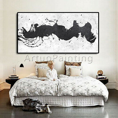 Black white Acrylic Modern abstract painting wall art Large Geometric Art decor