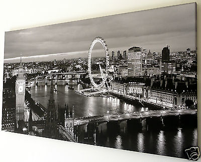 "London Skyline Wall Art Canvas Picture  Large 18"" X 32"" Black & White Xl103"