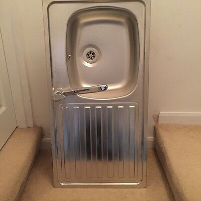 single bowl left hand drainer kitchen sink with tap