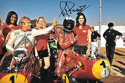 Giacomo Agostini & Phil Read  SIGNED 12x8  Reims-Gueux Classic 2009