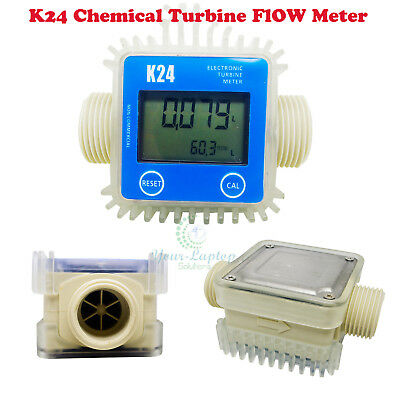 New Pro K24 Turbine Digital Diesel Fuel Flow Meter For Chemicals Water Blue