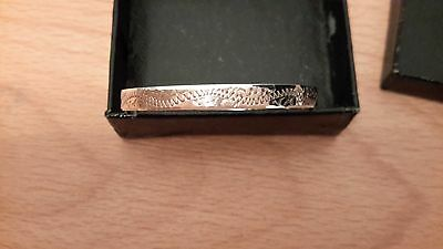 Vintage silver christening expandable bracelet with a delicate etched design
