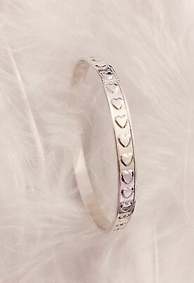 Solid 925 Sterling silver Sweet Heart Baby Girl Christening Bangle Bracelet