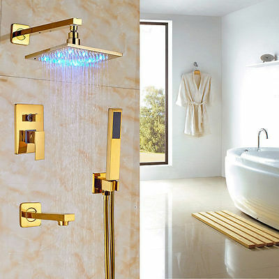 "8"" Bathroom Rainfall Shower Faucet LED Light Wall Mount Gold Polished Mixer Tap"