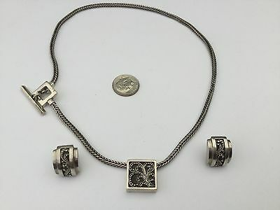 Beautiful Lois Hill Sterling Silver Toggle Cable Necklace Pendant & Earring Set!