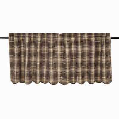 DAWSON STAR Scalloped Tier Set Lined Brown/Khaki Plaid Country Lodge Rustic 24""
