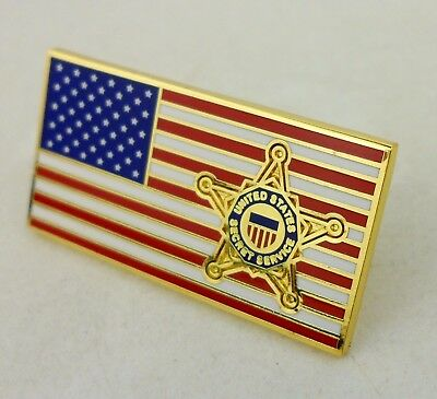 Usss United States Secret Service Lapel Hat Pin American Flag-0375