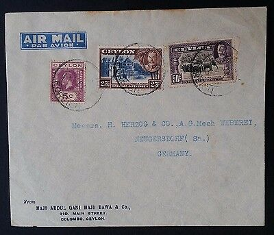 SCARCE 1937 Ceylon Airmail Cover ties 3 KGV stamps to Neugersdorf Germany