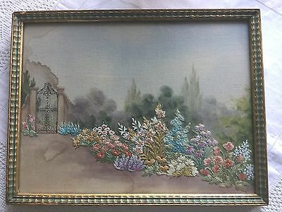 Framed 1930s/1940s Watercolour And Embroidery Picture