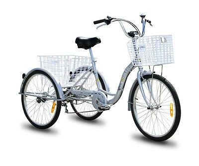 "Trike Bike Adult Tricycle 20"" Aluminium 3 Wheeled - 6 Gears & Baskets - SILVER"