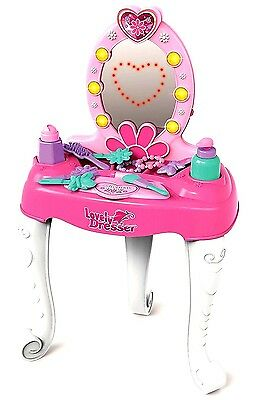 Girls Glamor Mirror Toy Game Dressing Table Pretend Play Set Fun Beauty