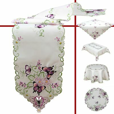 Table Runners Doily Tablecloth Colorful Flowers and Butterfly Embroidery Spring