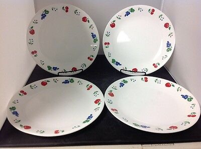 4 Corelle Berries and Cherries Dinner Plates