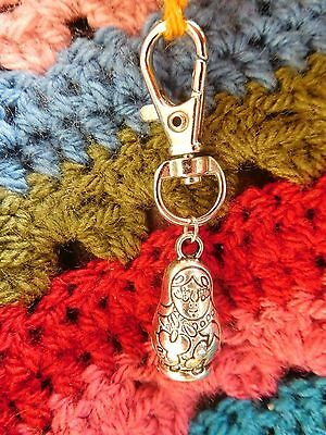 RUSSIAN DOLL crochet loop stitch keeper holder keyring key gripper zip charm