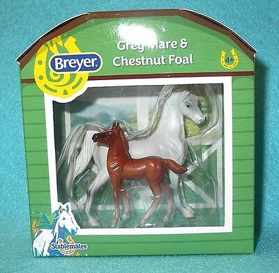 Breyer Stablemate Grey American Saddlebred & Chestnut Standing Foal #5394 New