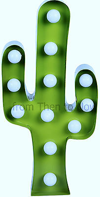 Cactus LED Metal Wall Art Light Decoration Marquee Party Freestanding Battery