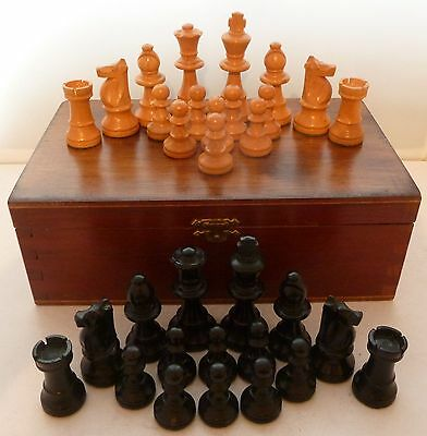 1960's Wooden Chess Set Weighted Ebony & Box Wood King 7 cm in Wooden Box