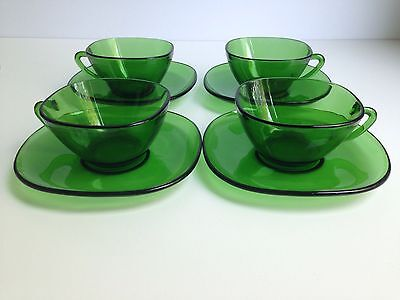Set of (4) Mid Century Modern Vereco France Demitasse Green Glass Cups Saucers