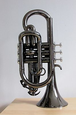 Tromba Plastic Bb Cornet in Black Nickel with Silver Trim
