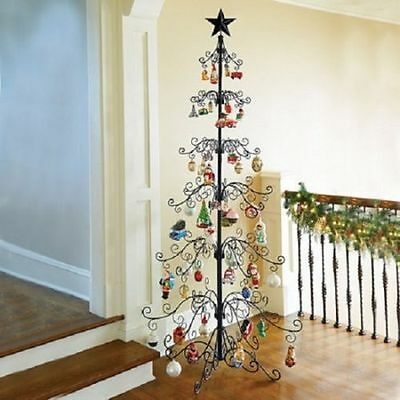 "Metal Scroll 108"" Christmas Ornament Display Tree in Black & Gold Colors"