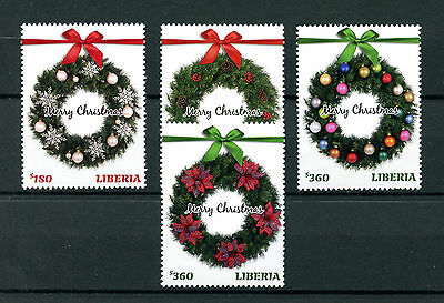 Liberia 2016 Christmas Wreaths Decorations Ornaments 4v Set Stamps