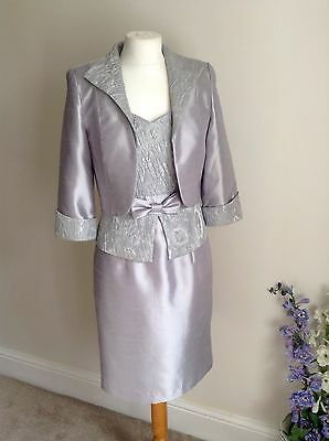Zeila Mother of the Bride Outfit Dress & Jacket Silver size 10 BNWT £465