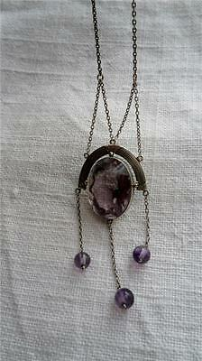 Art Deco Sterling Silver Chain & Frame with Large Amethyst Pendant