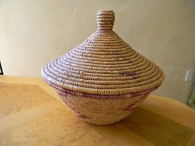 "AUTHENTIC UGANDAN WEDDING BASKET 8"" BASKET  w/Lid  2 Piece"