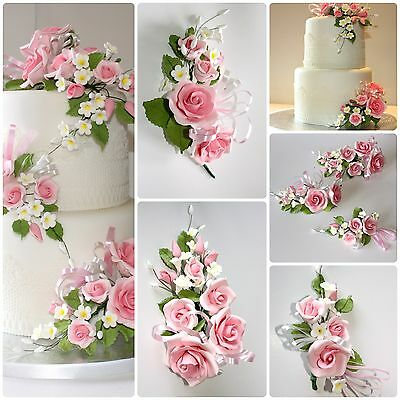 OPEN ROSE SPRAY PINK, S/M/L, Sugar Flowers, Cake Topper, Gum Paste, Sugar Paste