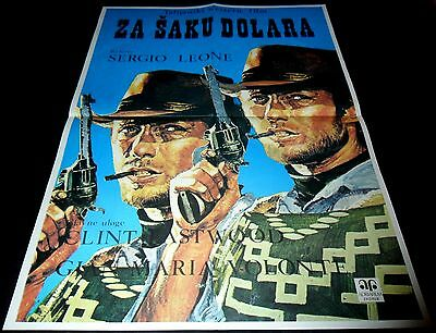 1964 A Fistful of Dollars ORIGINAL YUGOSLAVIA POSTER Clint Eastwood Sergio Leone