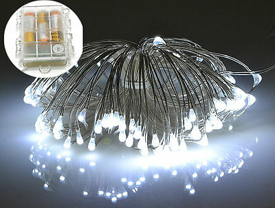 Micro LED Silver Wire Battery Fairy Rice Lights Waterproof Timer Indoor Outdoor
