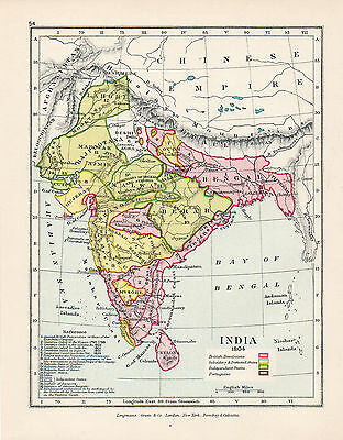 Map Of India 1804  Original Printed 1910