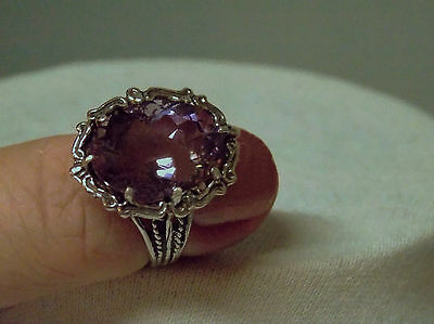 8ct natural Purple Amethyst filigree antique 925 sterling silver ring size 8 USA